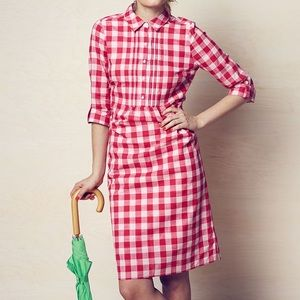 Boden pink gingham plaid shirt dress size 8